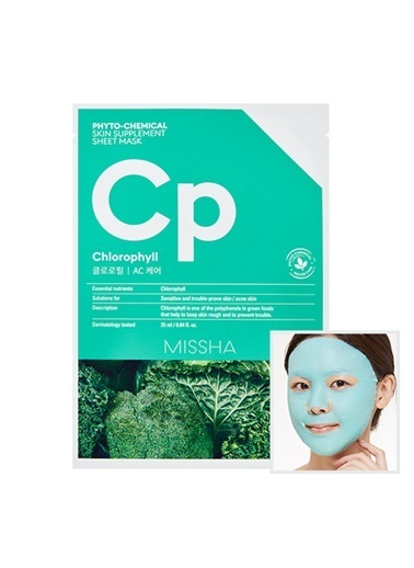Missha Phytochemical Skin Supplement Sheet Mask (Chlorophyll/Ac Care) Renksiz